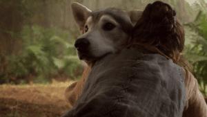 Aarya hugging Nymeria
