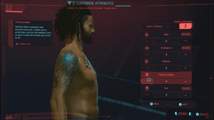 cyberpunk player attributes customization screen