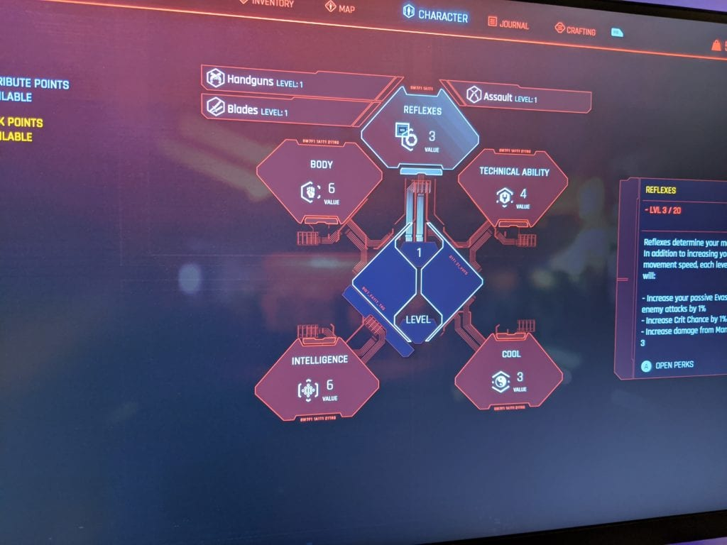 cyberpunk character menu
